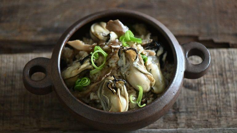牡蠣舞菇炊飯